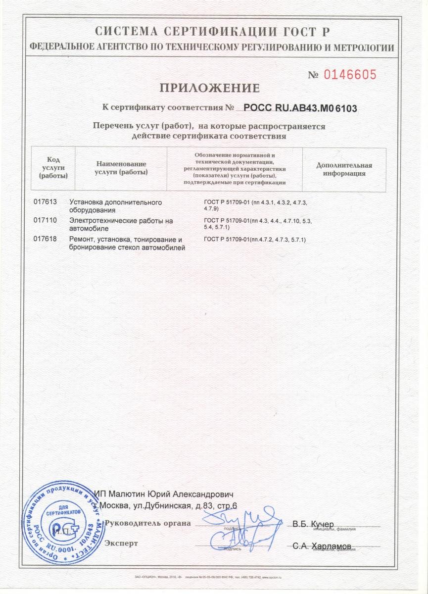 приложение сертификата соответствия